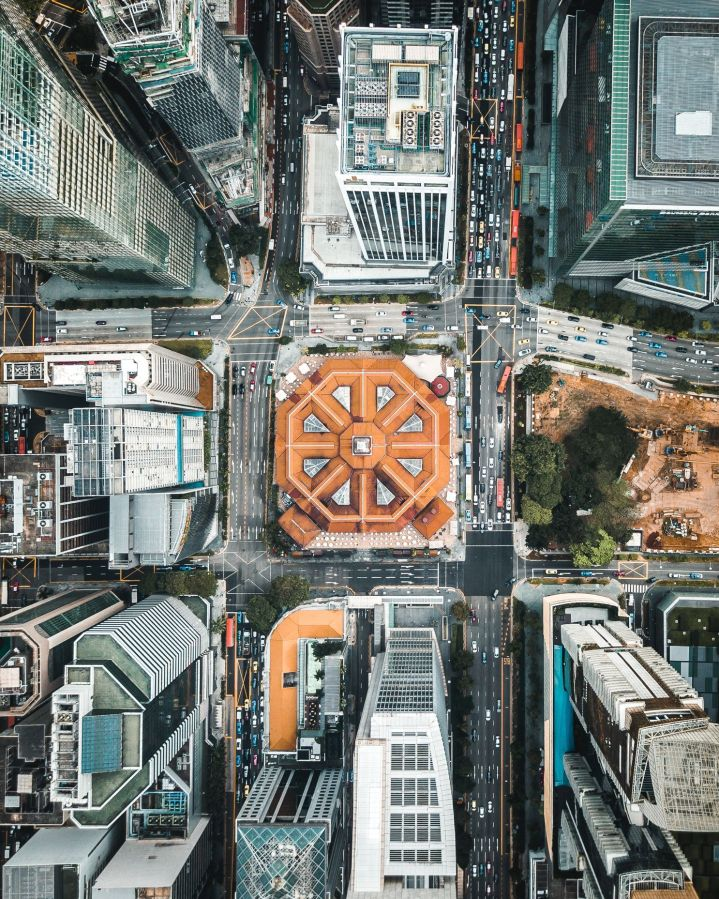 top down image of buildings and intersections in Singapore