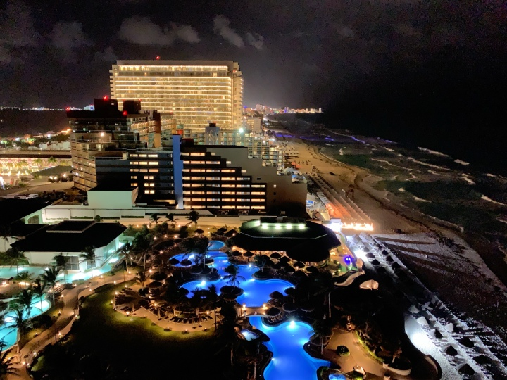 Cancun hotel zone at night