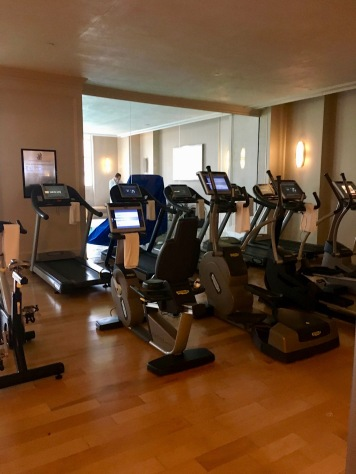The fitness room is cozy, but functional.