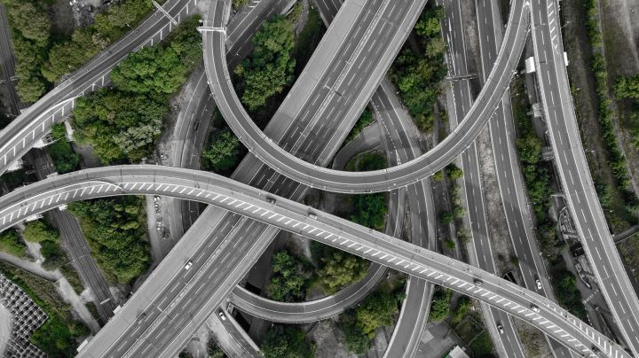 top down image of multiple crisscrossing highways