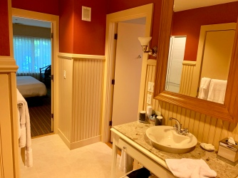 The suite features one pacious bathroom