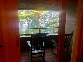 A small porch with peek-a-boo views of Lake George